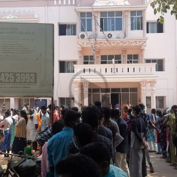 Growing crowd at Taluk office